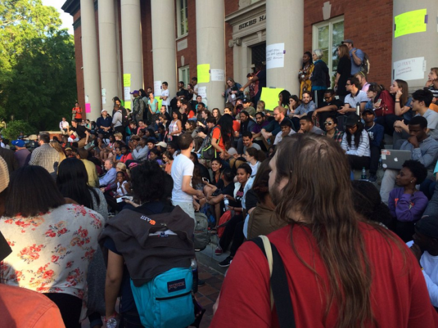 Clemson Community members on the Steps of Sikes Hall
